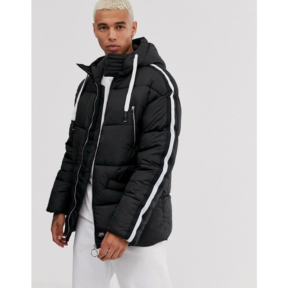 シックススジューン Sixth June メンズ ダウン・中綿ジャケット アウター【hooded puffer jacket with faux fur hood】Black