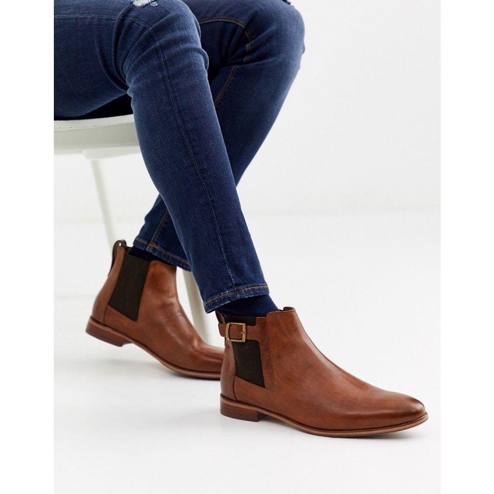 リバーアイランド River Island メンズ ブーツ チェルシーブーツ シューズ・靴【chelsea boots with buckle in brown】Mid brown