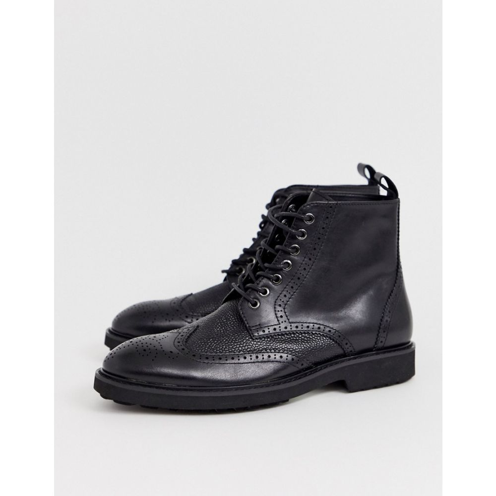 オフィス Office メンズ ブーツ メダリオン シューズ・靴【brogue boots in black leather】Black