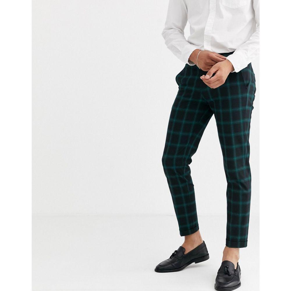 ジャック アンド ジョーンズ Jack & Jones メンズ ボトムス・パンツ 【premium check trousers in green】Dark green