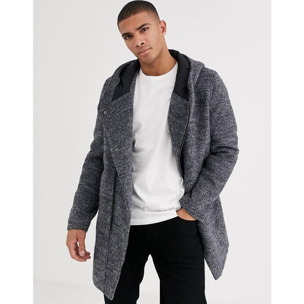 エスプリ Esprit メンズ コート アウター【assymetric wool overcoat with hood in grey】Grey