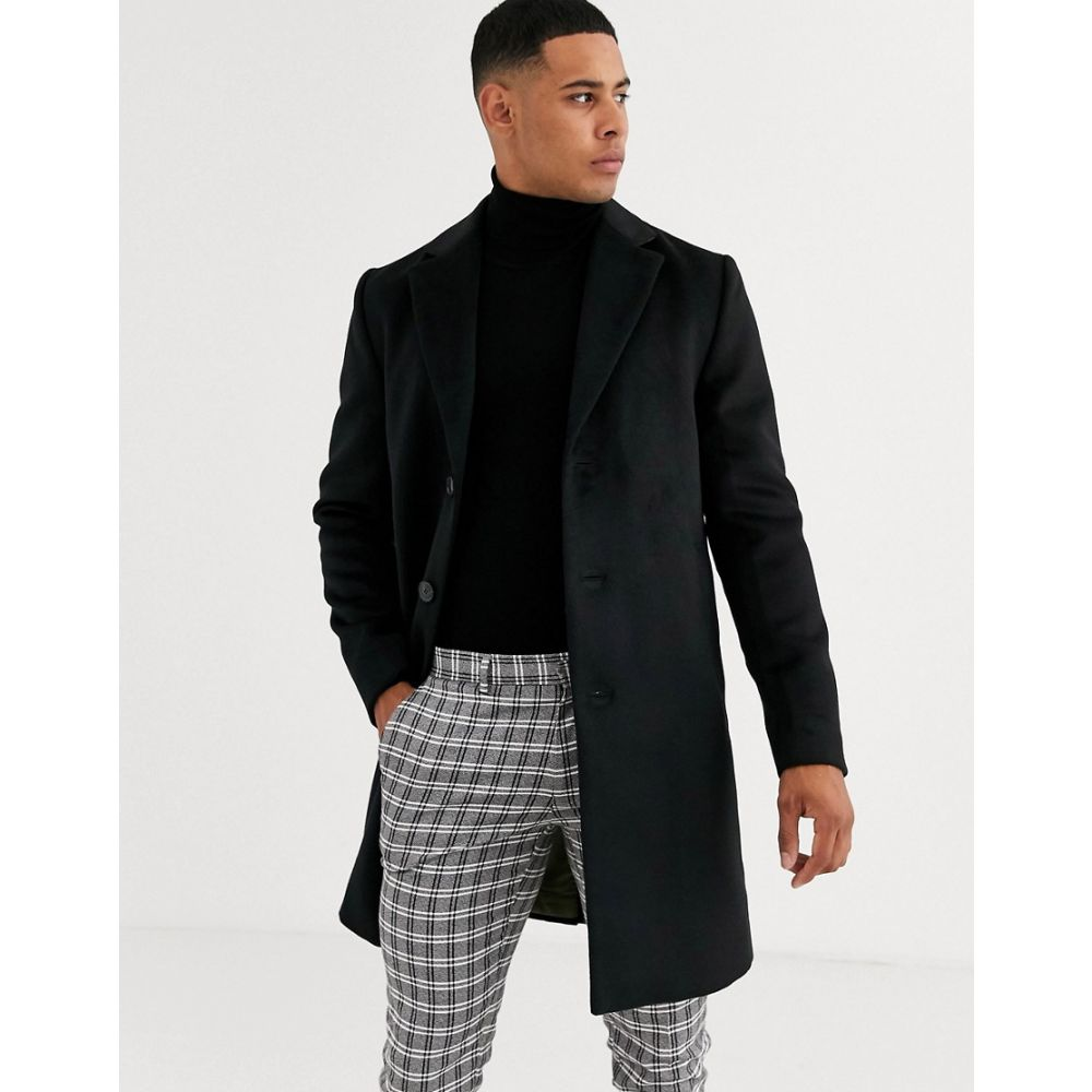 リバーアイランド River Island メンズ コート アウター【overcoat in black】Black
