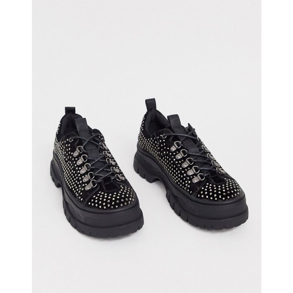エイソス ASOS DESIGN メンズ シューズ・靴 チャンキーヒール レースアップ【lace up shoes in grey velvet with all over gem detail and chunky sole】Grey