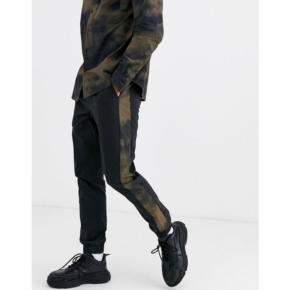 エイソス ASOS DESIGN メンズ ジョガーパンツ ボトムス・パンツ【co-ord skinny joggers with printed side stripe in black】Black
