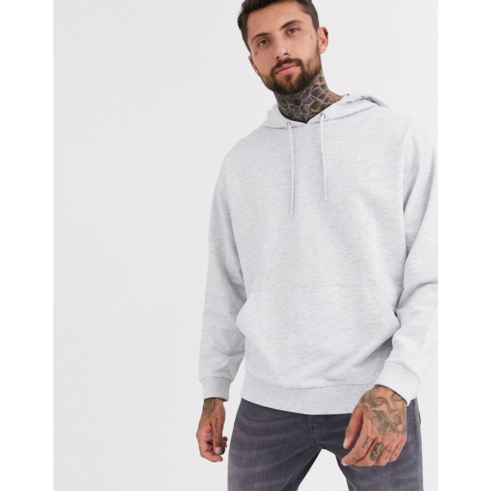 エイソス ASOS DESIGN メンズ パーカー トップス【lightweight oversized hoodie in white marl】White marl