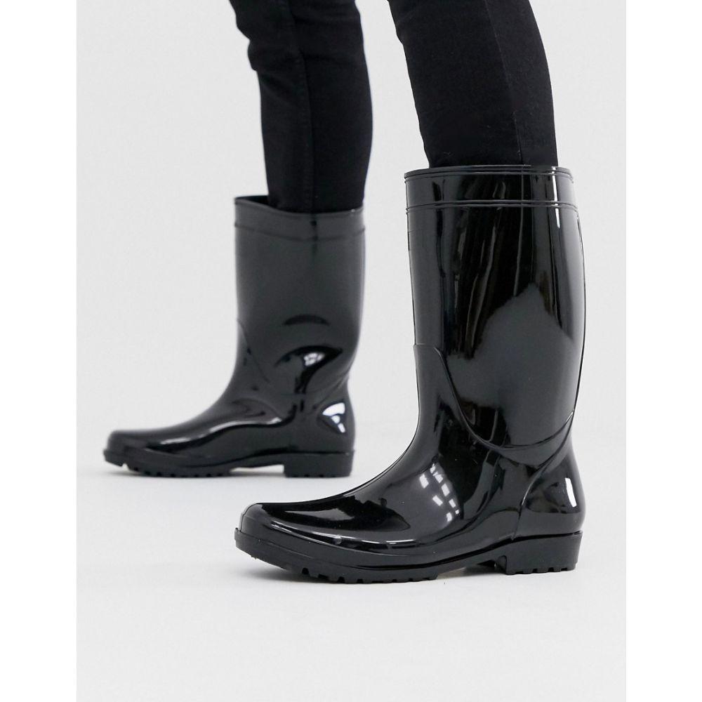 エイソス ASOS DESIGN メンズ レインシューズ・長靴 シューズ・靴【wellies in black patent】Black