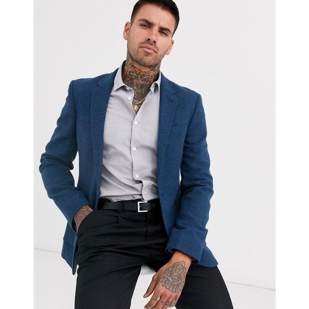 エイソス ASOS DESIGN メンズ スーツ・ジャケット アウター【super skinny blazer with wool mix twill in navy】Blue