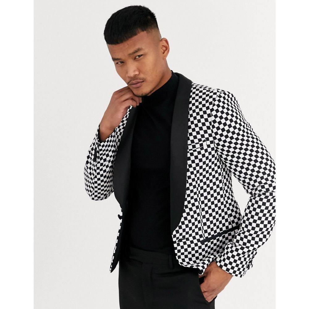 エイソス ASOS DESIGN メンズ スーツ・ジャケット タキシード アウター【skinny tuxedo blazer with race track check in black and white】White