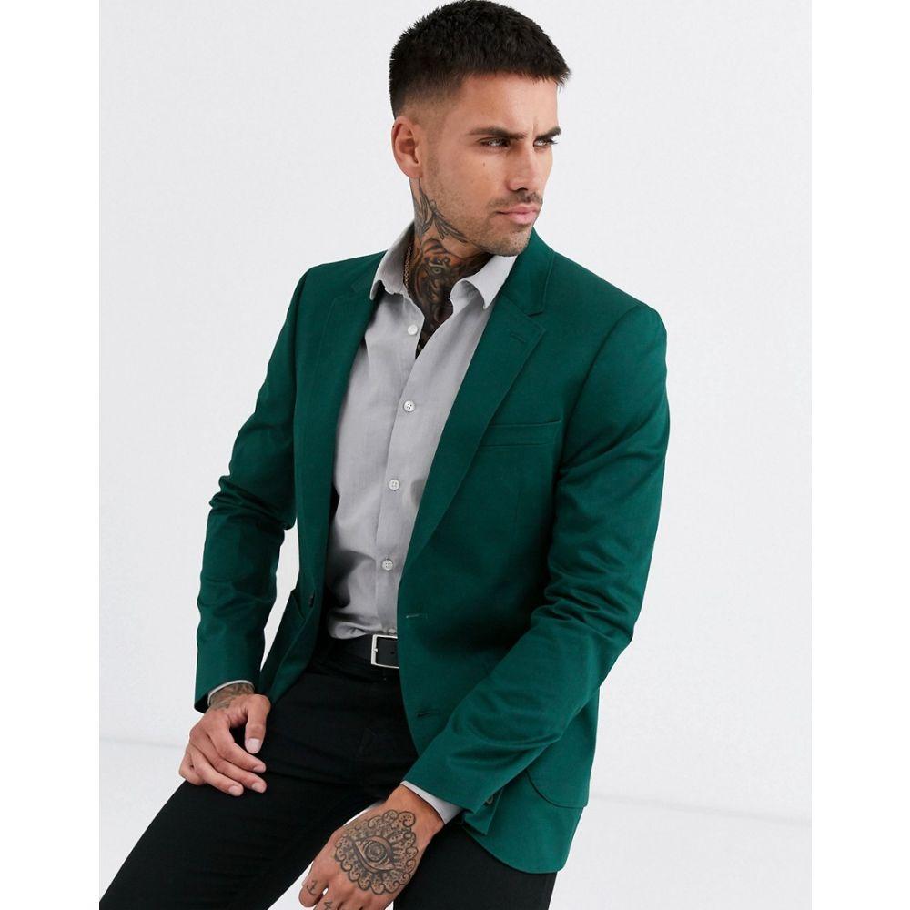 エイソス ASOS DESIGN メンズ スーツ・ジャケット アウター【skinny cotton blazer in green】Green