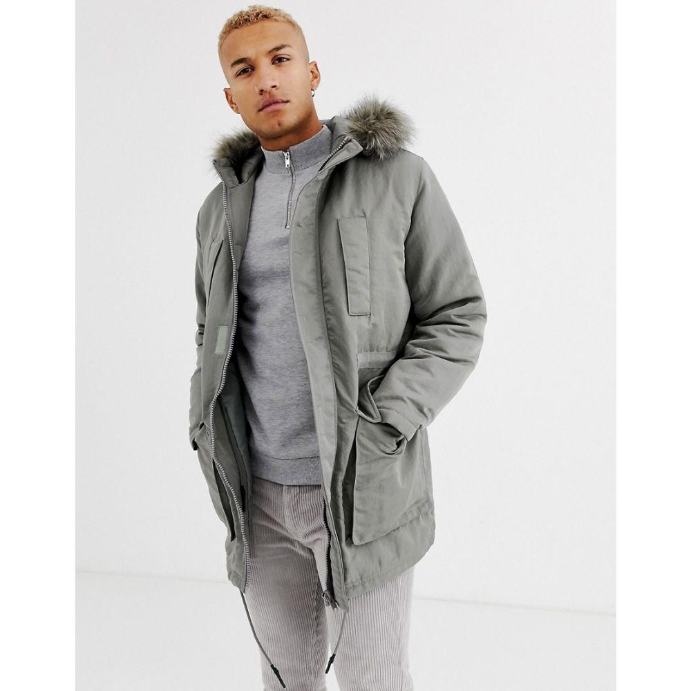 エイソス ASOS DESIGN メンズ コート アウター【parka jacket in grey with faux fur lining】Grey