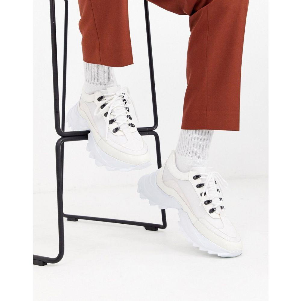 エイソス ASOS DESIGN メンズ スニーカー チャンキーヒール シューズ・靴【trainers in white leather with chunky cleated sole】White