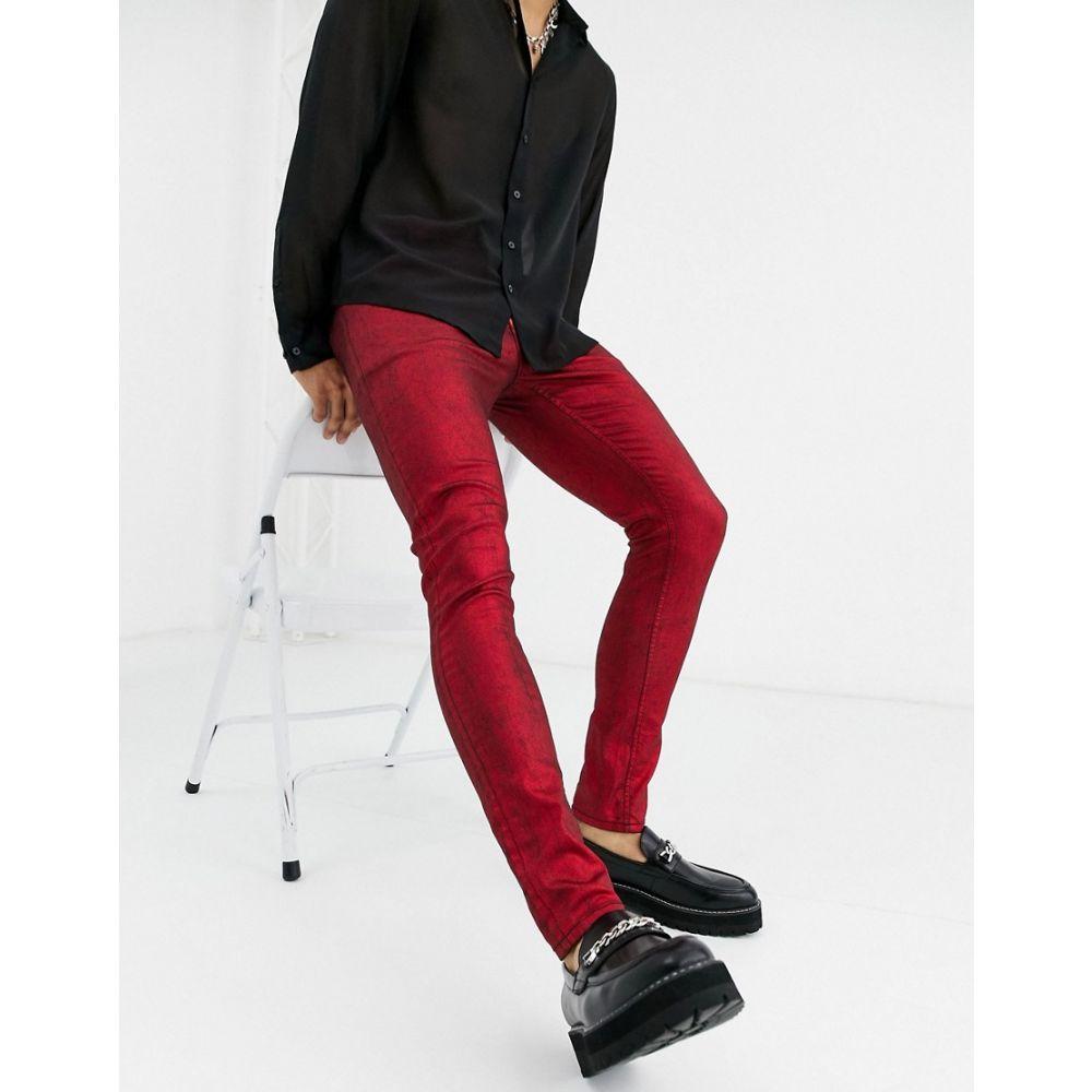 エイソス ASOS DESIGN メンズ ジーンズ・デニム ボトムス・パンツ【super skinny jeans in coated red metallic】Red