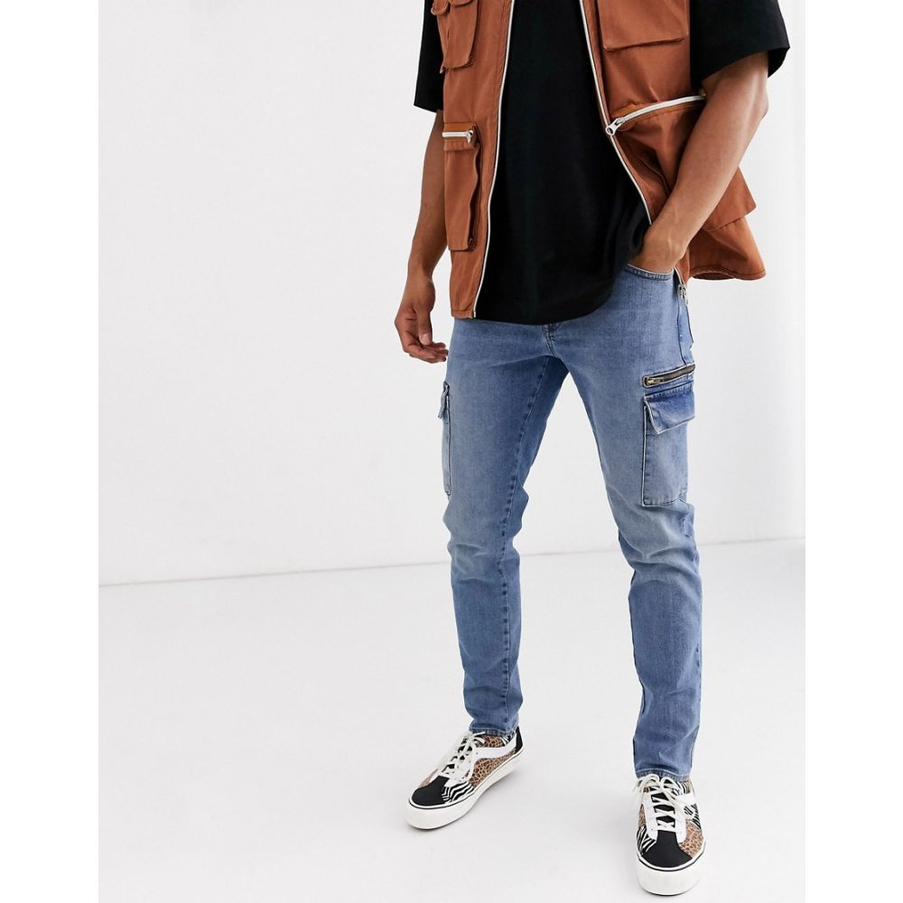 エイソス ASOS DESIGN メンズ ジーンズ・デニム ボトムス・パンツ【slim jeans with cargo pockets in dark wash blue】Dark wash blue