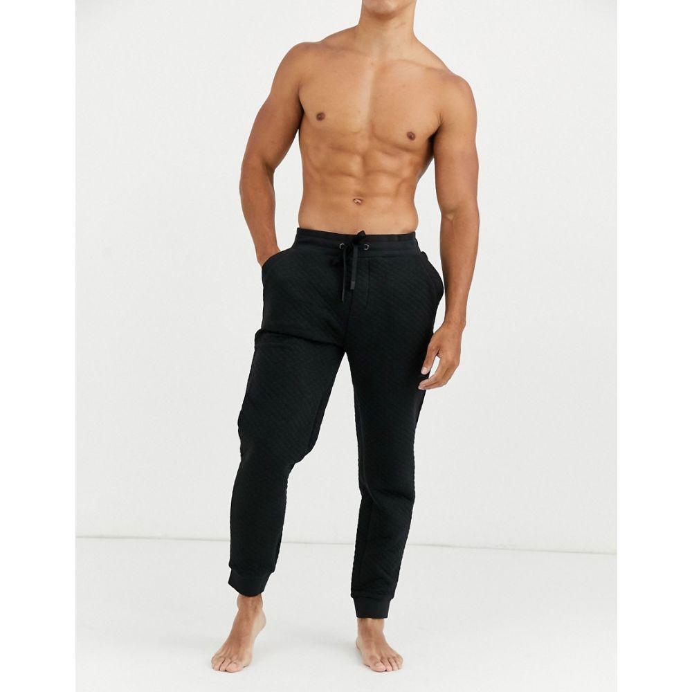 ヒューゴ ボス BOSS メンズ ジョガーパンツ ボトムス・パンツ【bodywear contemporary quilted logo cuffed joggers in black】Black