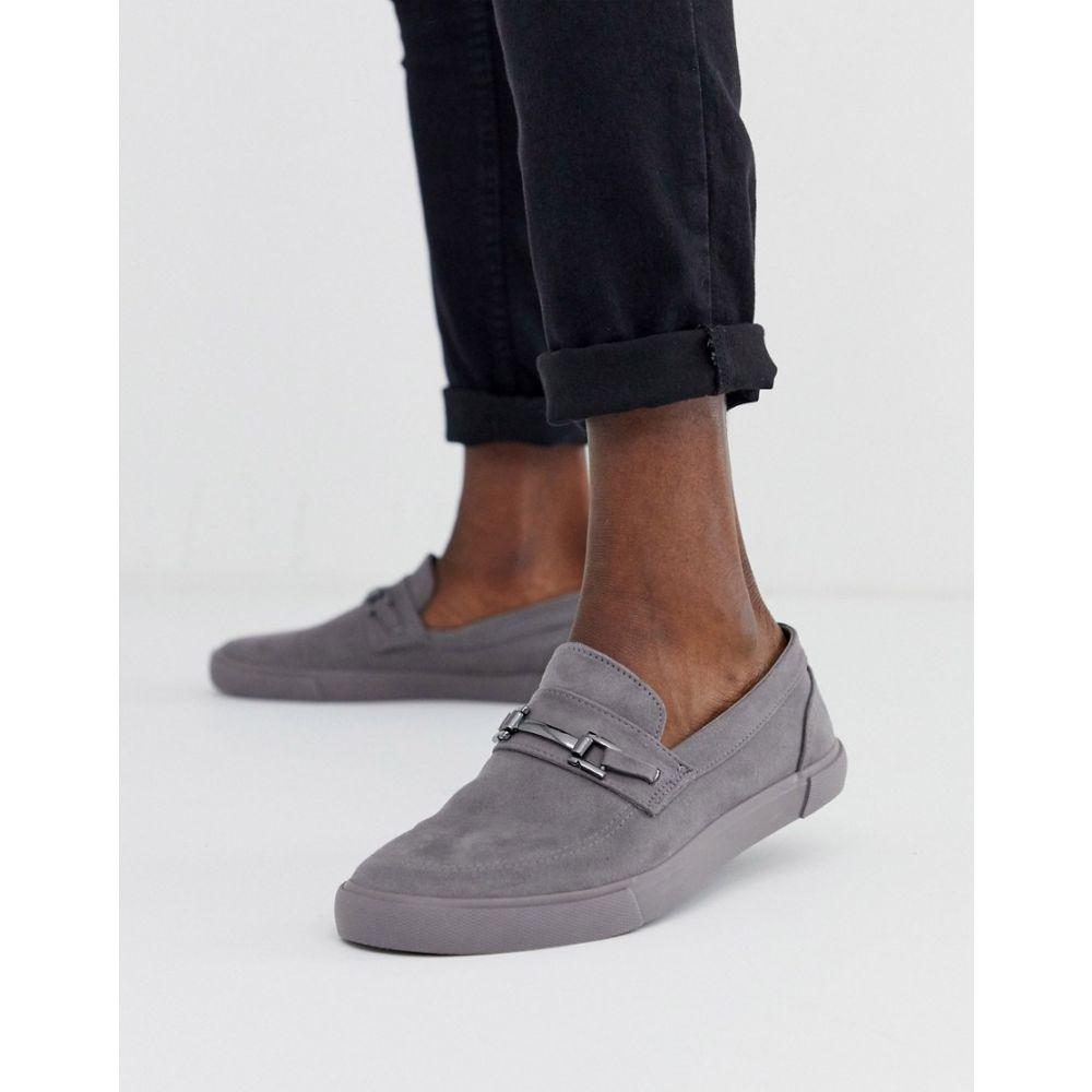 エイソス ASOS DESIGN メンズ スリッポン・フラット シューズ・靴【slip on plimsolls in grey with snaffle detail】Grey
