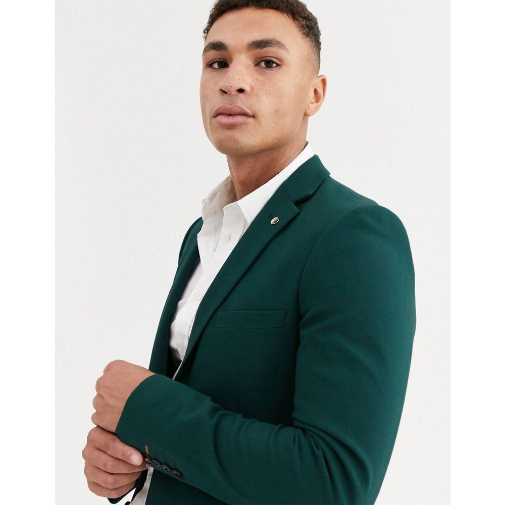 アヴェイルロンドン AVAIL London メンズ スーツ・ジャケット アウター【skinny suit jacket in teal】Green