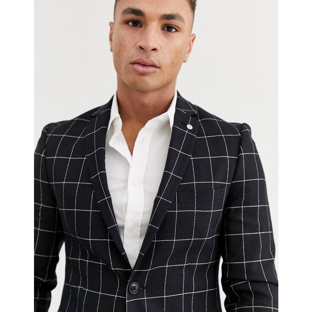 アヴェイルロンドン AVAIL London メンズ スーツ・ジャケット アウター【skinny suit jacket in black windowpane print】Black