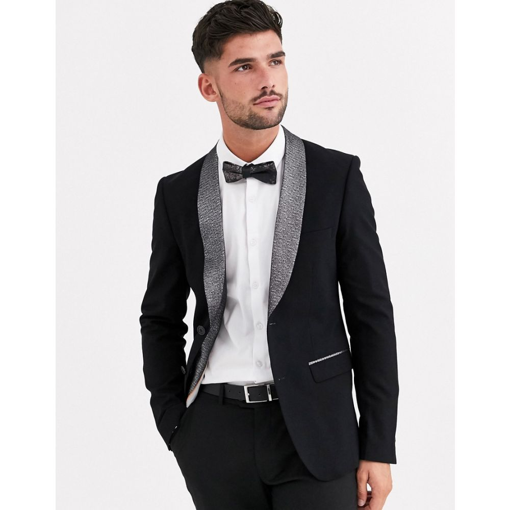 アヴェイルロンドン AVAIL London メンズ スーツ・ジャケット タキシード アウター【skinny tuxedo jacket in black with silver shimmer lapel】Black