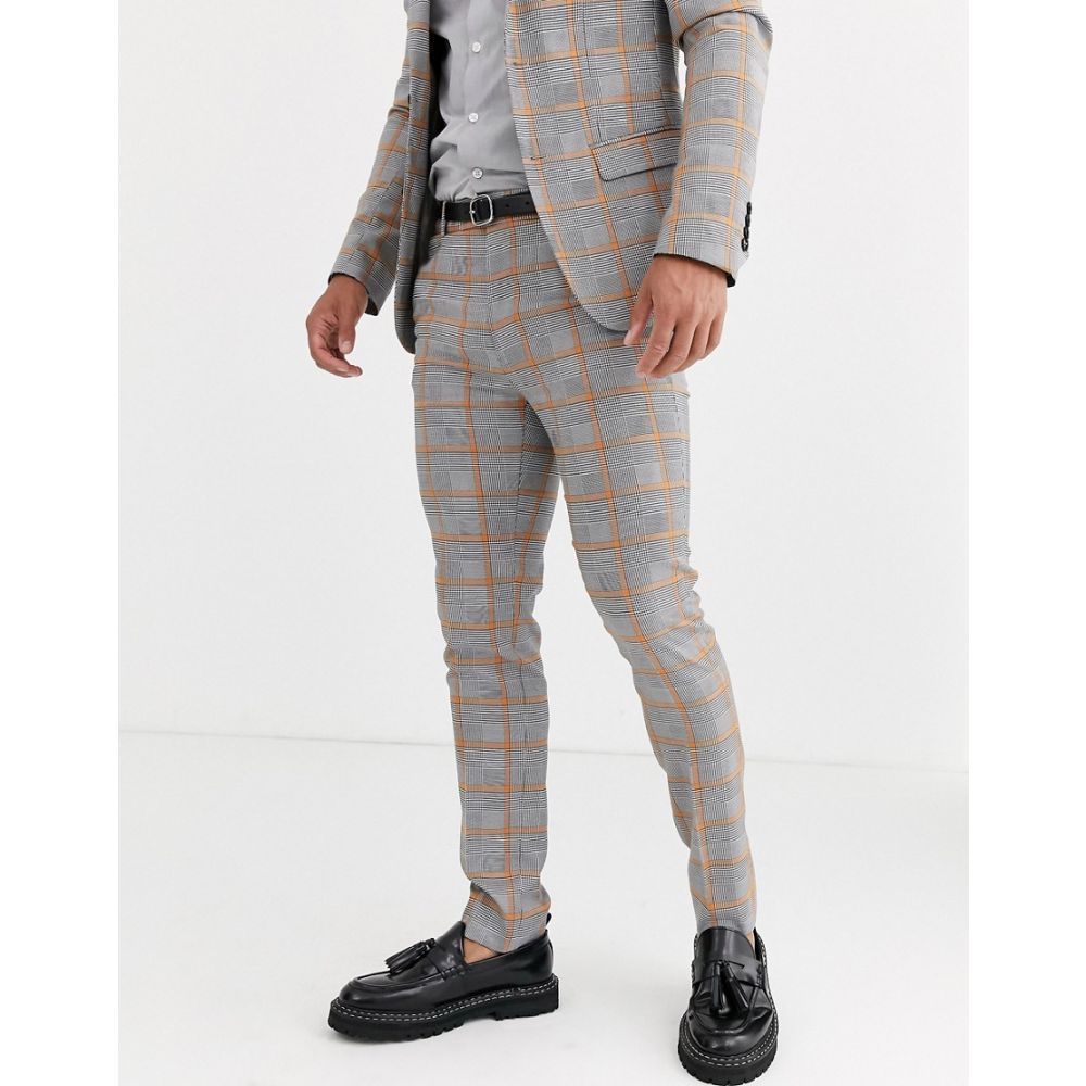 アヴェイルロンドン AVAIL London メンズ スラックス ボトムス・パンツ【suit trousers in grey prince of wales check】Grey
