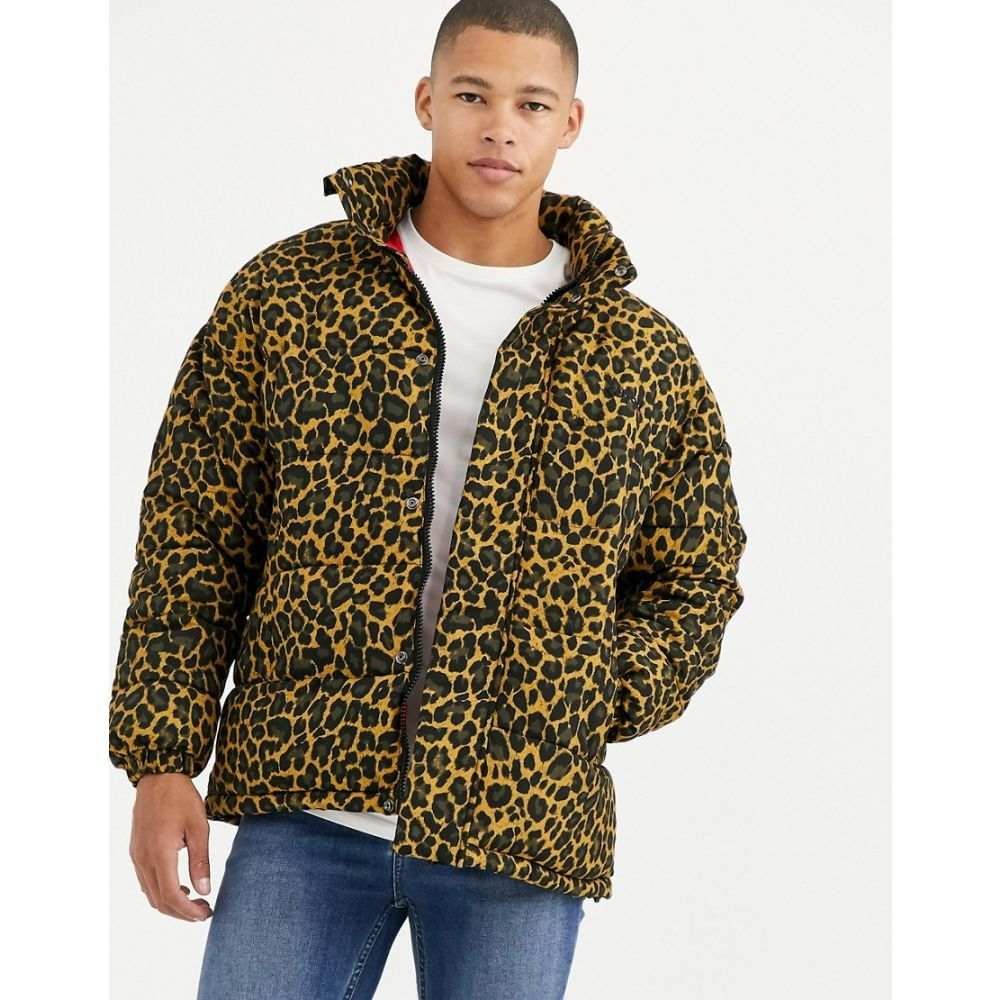 ショット Schott メンズ ダウン・中綿ジャケット アウター【nebraska leopard print puffer jacket slim fit with concealed hood in gold】Leopard
