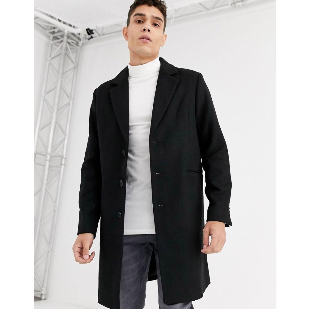 エイソス ASOS DESIGN メンズ コート アウター【wool mix overcoat in 黒】黒