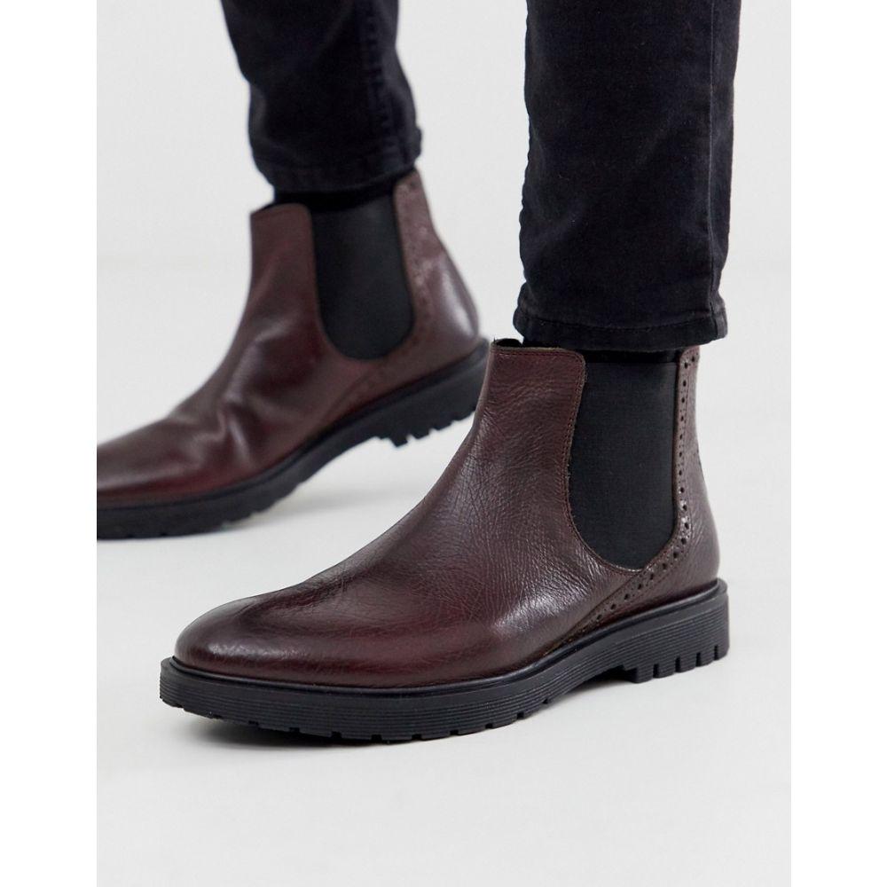 デューン Dune メンズ ブーツ チェルシーブーツ チャンキーヒール シューズ・靴【leather chunky chelsea boot in oxblood】Red
