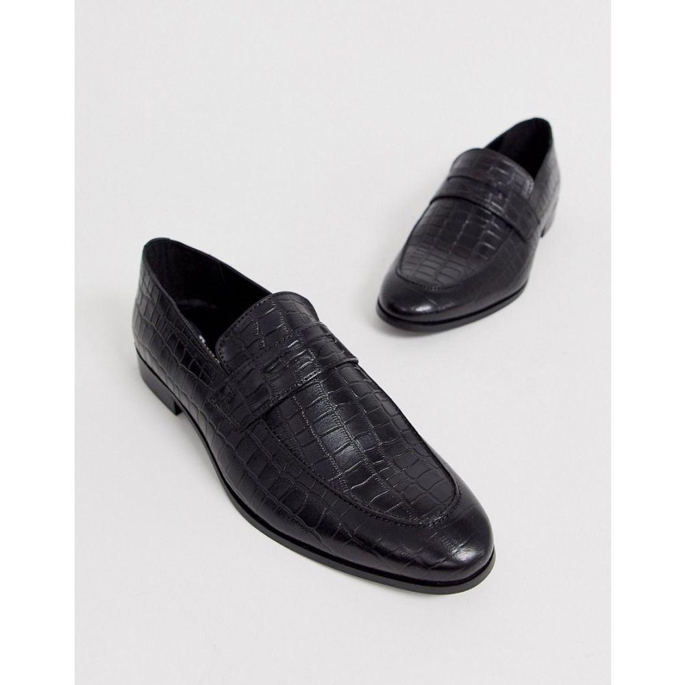 デューン Dune メンズ ローファー シューズ・靴【leather faux croc penny loafer in black】Black