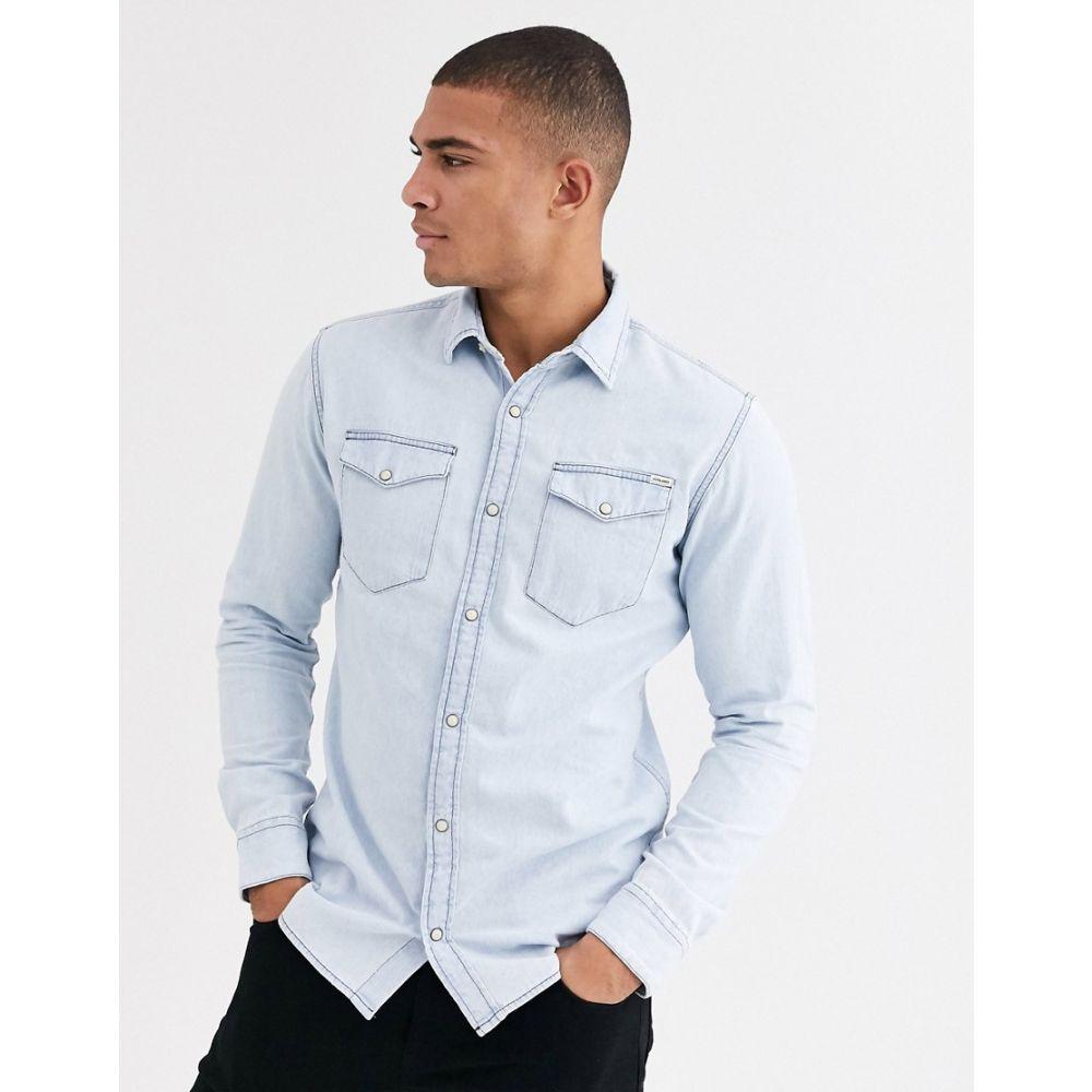 ジャック アンド ジョーンズ Jack & Jones メンズ シャツ デニム トップス【essentials denim shirt in light blue】Light blue denim
