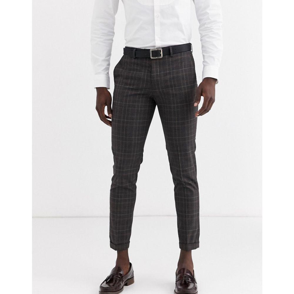 ジャック アンド ジョーンズ Jack & Jones メンズ スラックス ボトムス・パンツ【premium check suit trousers in grey】Dark grey