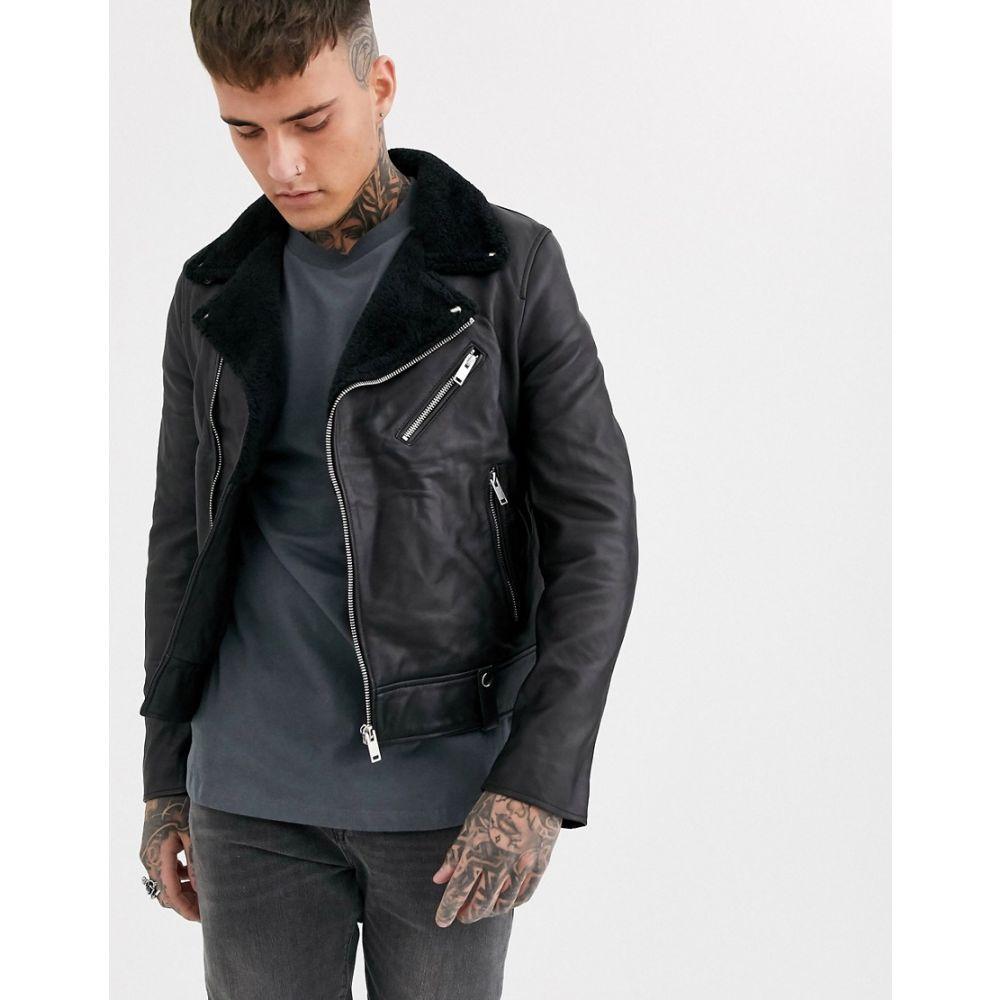 ボロンガロトレバー Bolongaro Trevor メンズ レザージャケット ライダース シアリング アウター【shearling collar biker leather jacket】Black