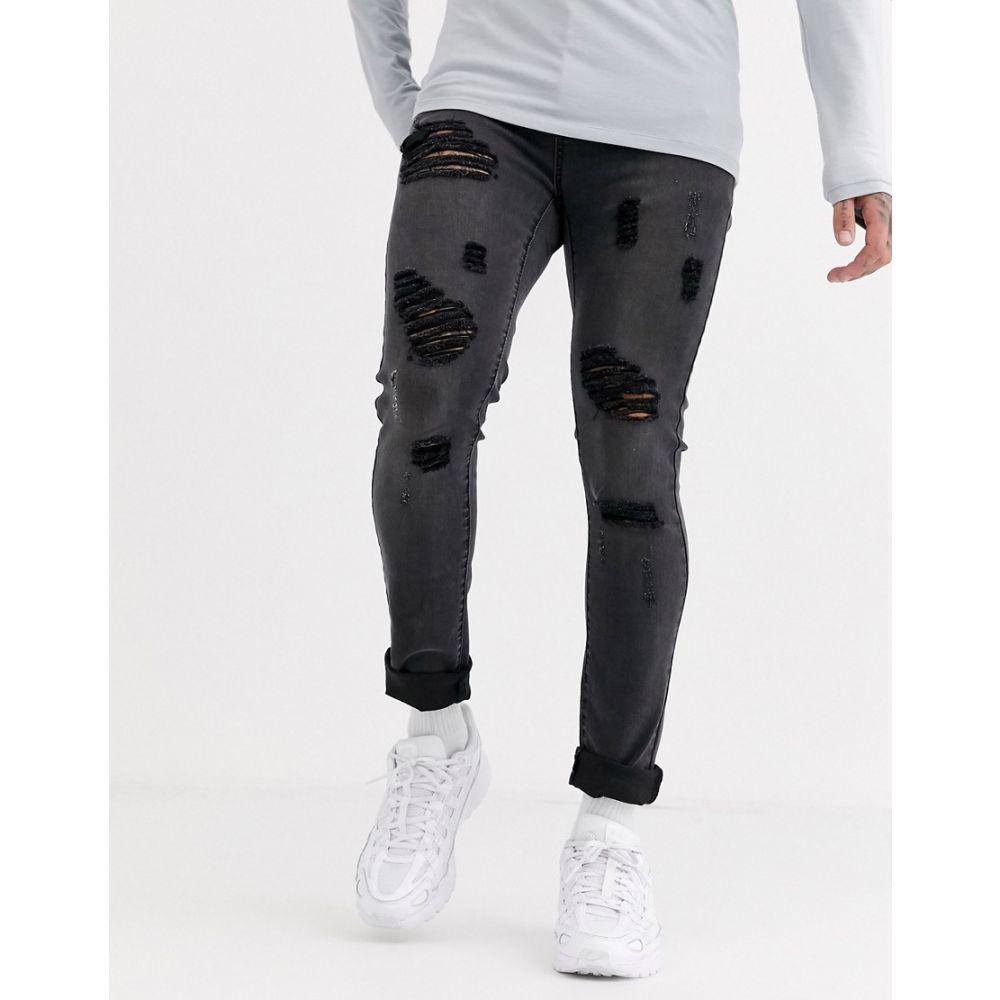 リカーアンドポーカー Liquor N Poker メンズ ジーンズ・デニム ボトムス・パンツ【skinny fit jeans with rips in dark grey wash】Dark grey