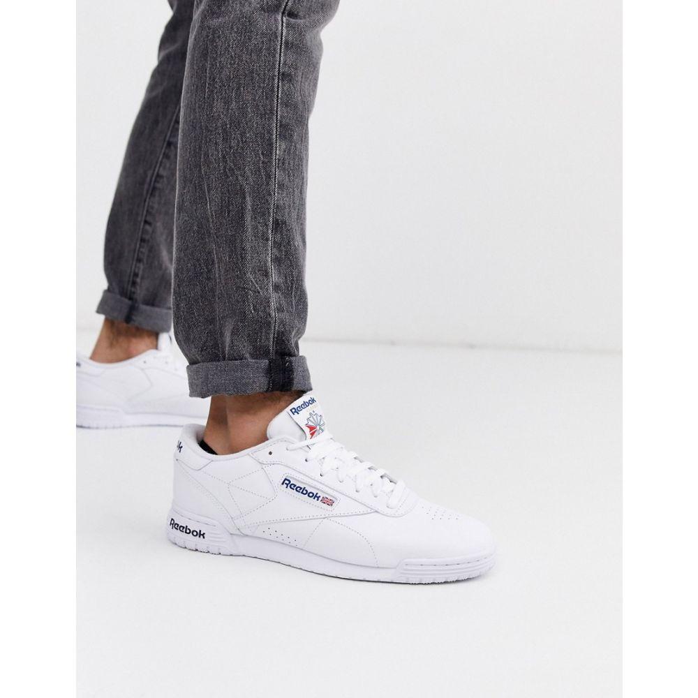 リーボック Reebok メンズ スニーカー シューズ・靴【ex-o-fit leather trainers in white】White