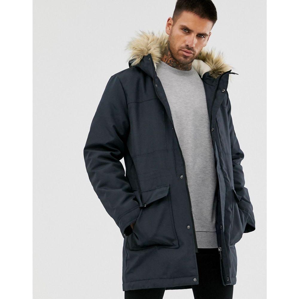 オンリーアンドサンズ Only & Sons メンズ コート アウター【parka with borg lined hood and removable faux fur】Dark navy