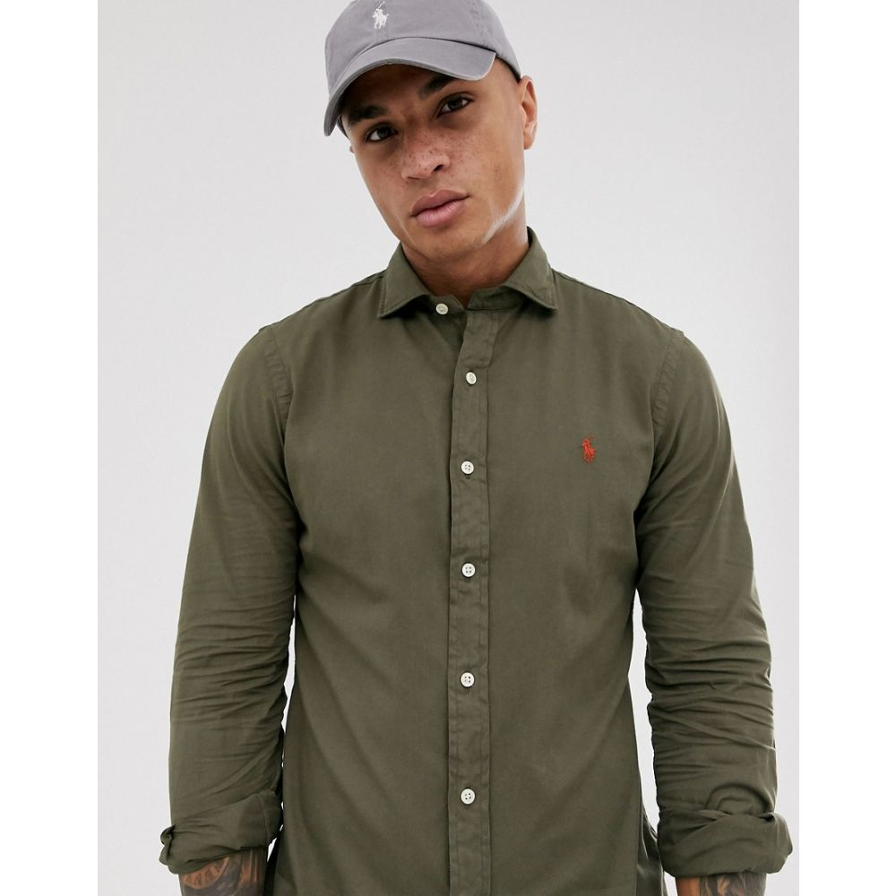 ラルフ ローレン Polo Ralph Lauren メンズ シャツ トップス【slim fit garment dyed oxford shirt phillip collar in dark green with player logo】Defender green