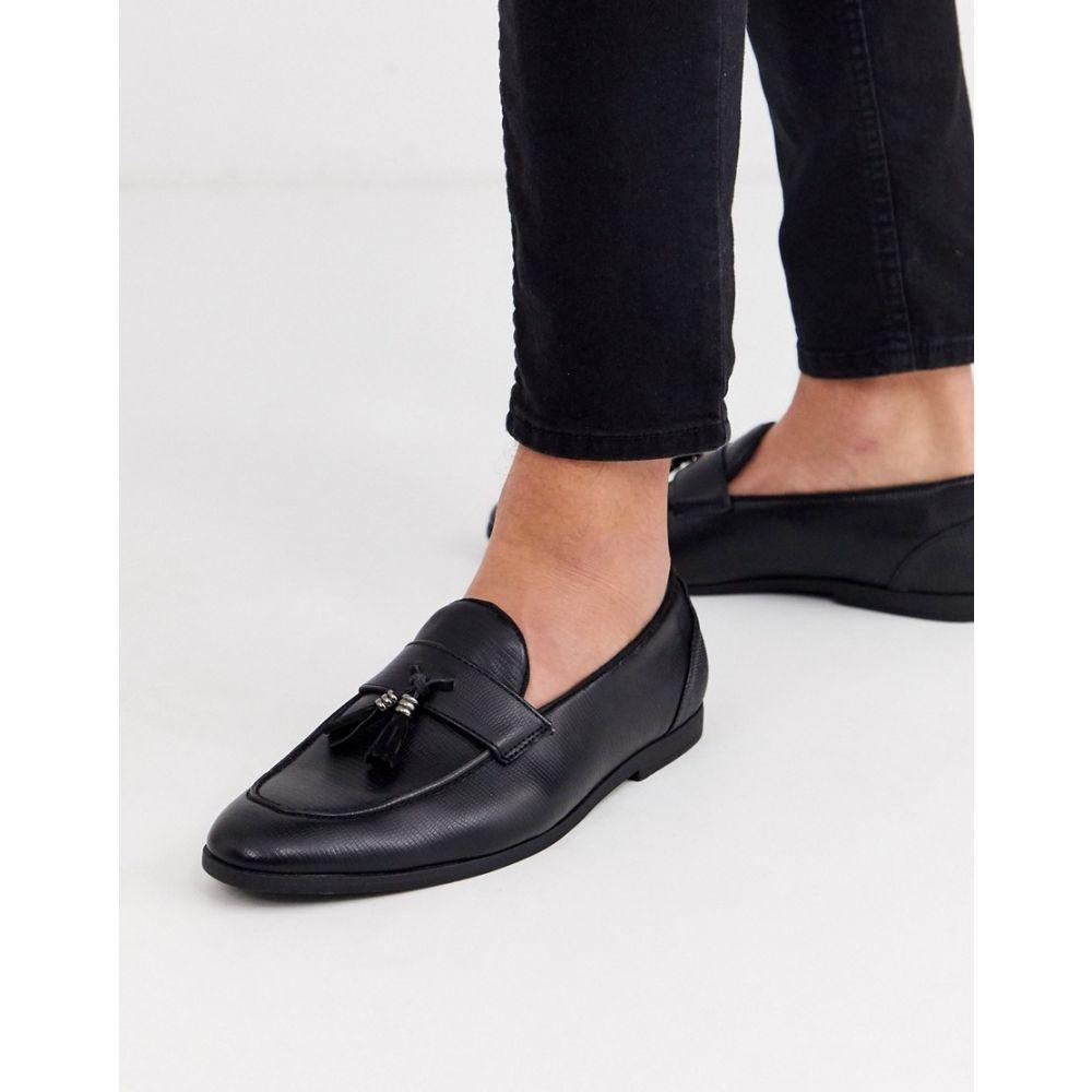 リバーアイランド River Island メンズ ローファー シューズ・靴【snake skin loafer in black】Black
