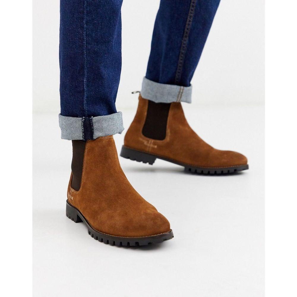 リバーアイランド River Island メンズ ブーツ チェルシーブーツ チャンキーヒール シューズ・靴【chelsea boot with chunky sole in brown】Brown