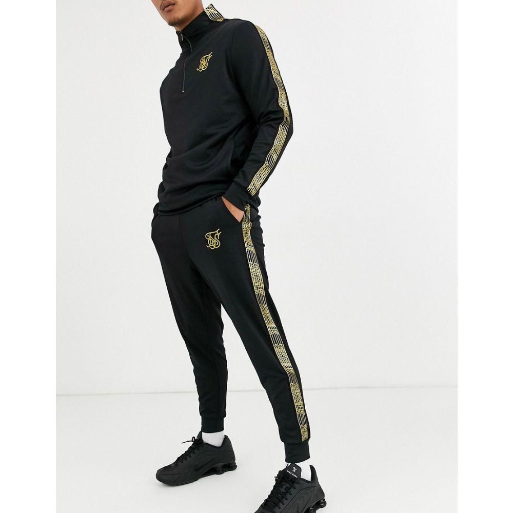 シックシルク SikSilk メンズ ジョガーパンツ ボトムス・パンツ【skinny joggers in black with gold logo】Black