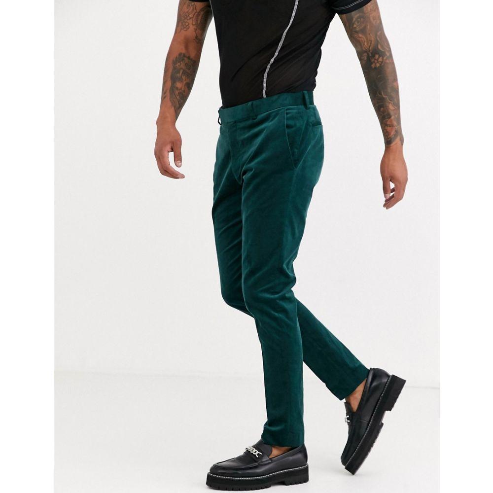 トップマン Topman メンズ スラックス ボトムス・パンツ【skinny suit trousres in green cord】Green