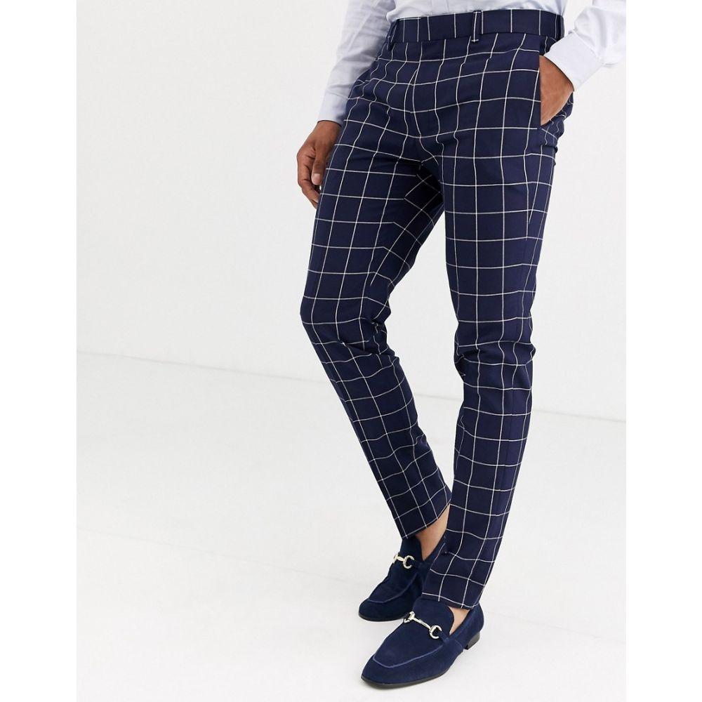 トップマン Topman メンズ スラックス ボトムス・パンツ【skinny suit trousers in navy】Navy blue