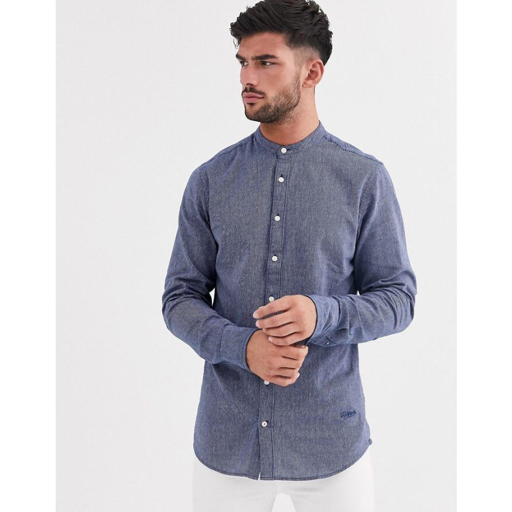 トミー ヒルフィガー Tommy Hilfiger メンズ シャツ トップス【slim indigo print long sleeve shirt】Blue
