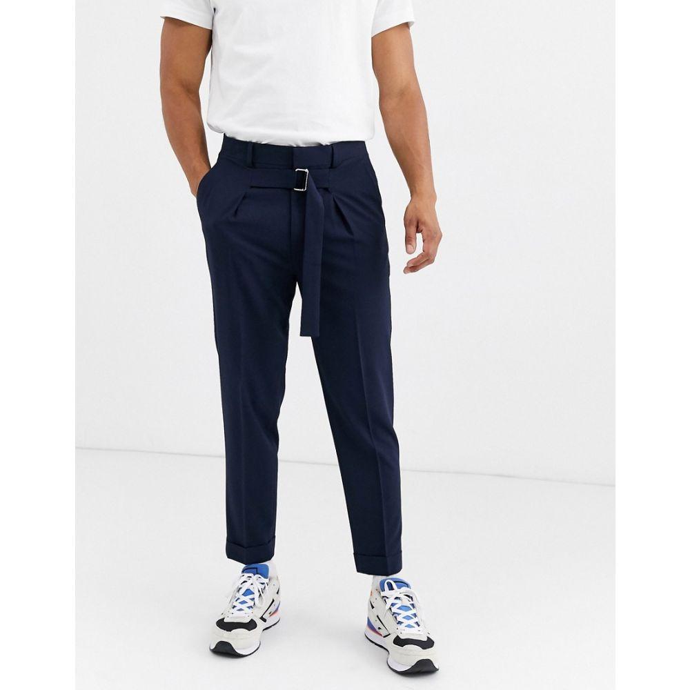 エイソス ASOS DESIGN メンズ ボトムス・パンツ 【tapered smart trousers with tie belt in navy】Navy