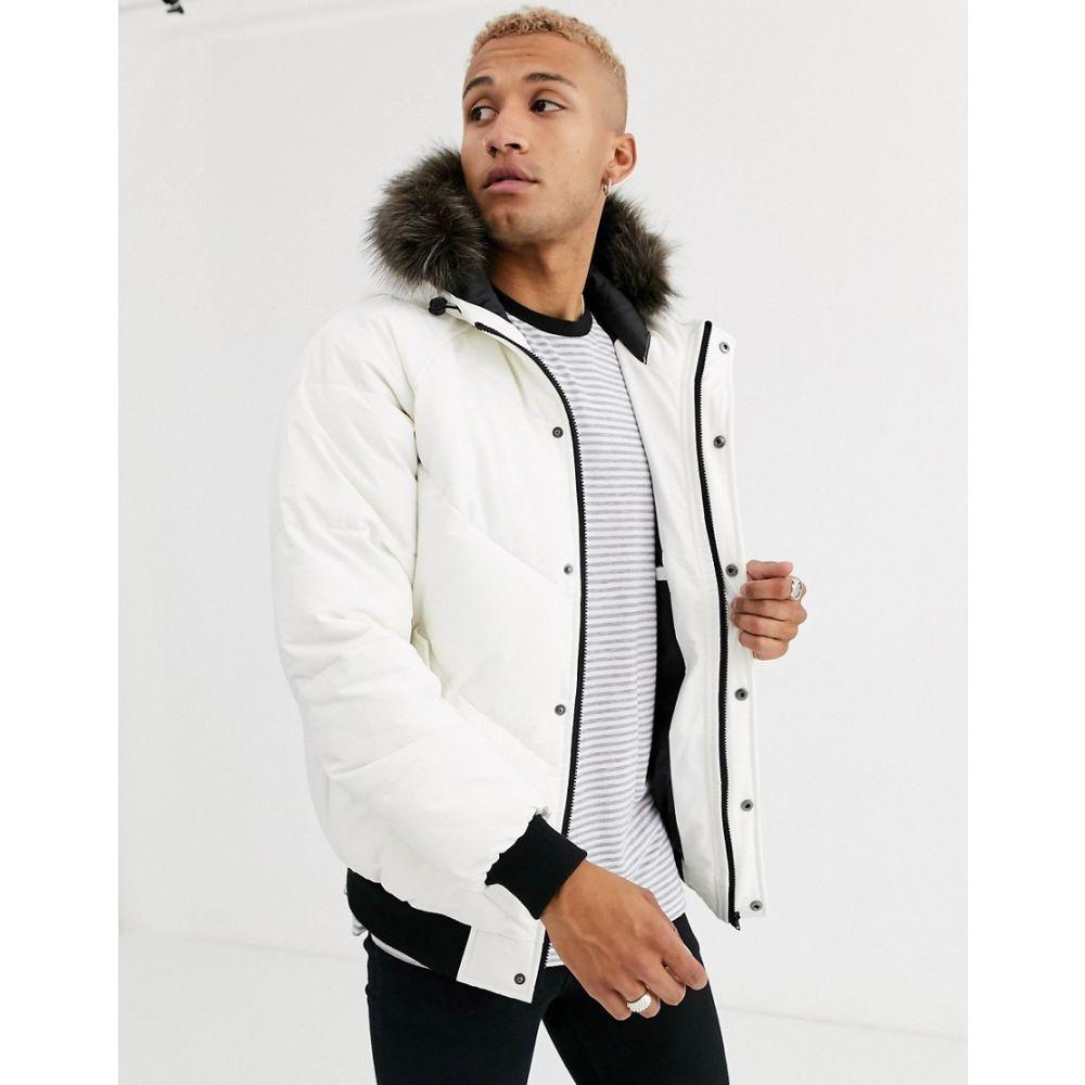 エイソス ASOS DESIGN メンズ ダウン・中綿ジャケット ミリタリージャケット アウター【puffer bomber jacket in white with fur hood】White