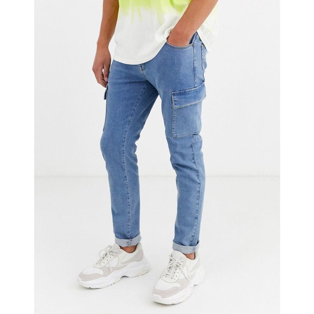 エイソス ASOS DESIGN メンズ ジーンズ・デニム ボトムス・パンツ【skinny jeans with cargo pockets in dark wash blue】Dark wash blue