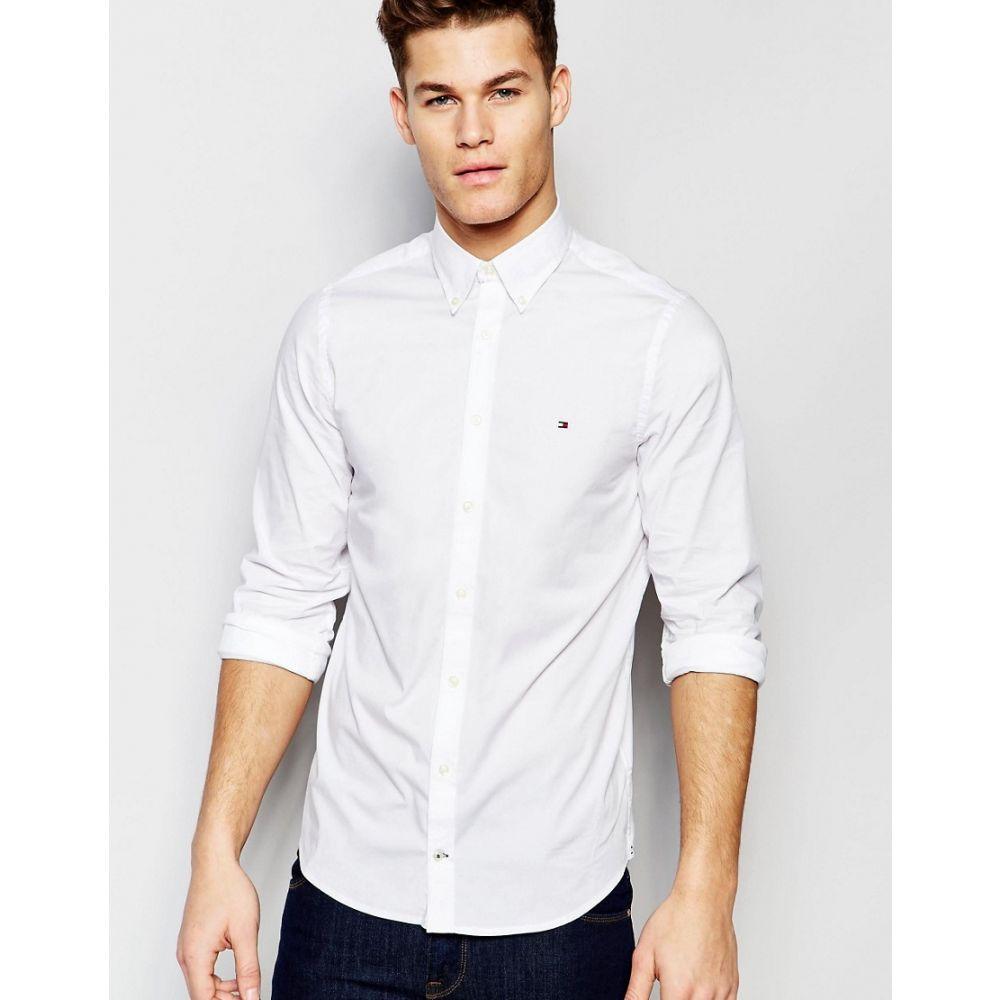トミー ヒルフィガー Tommy Hilfiger メンズ シャツ トップス【poplin shirt with stretch in slim fit in white】White