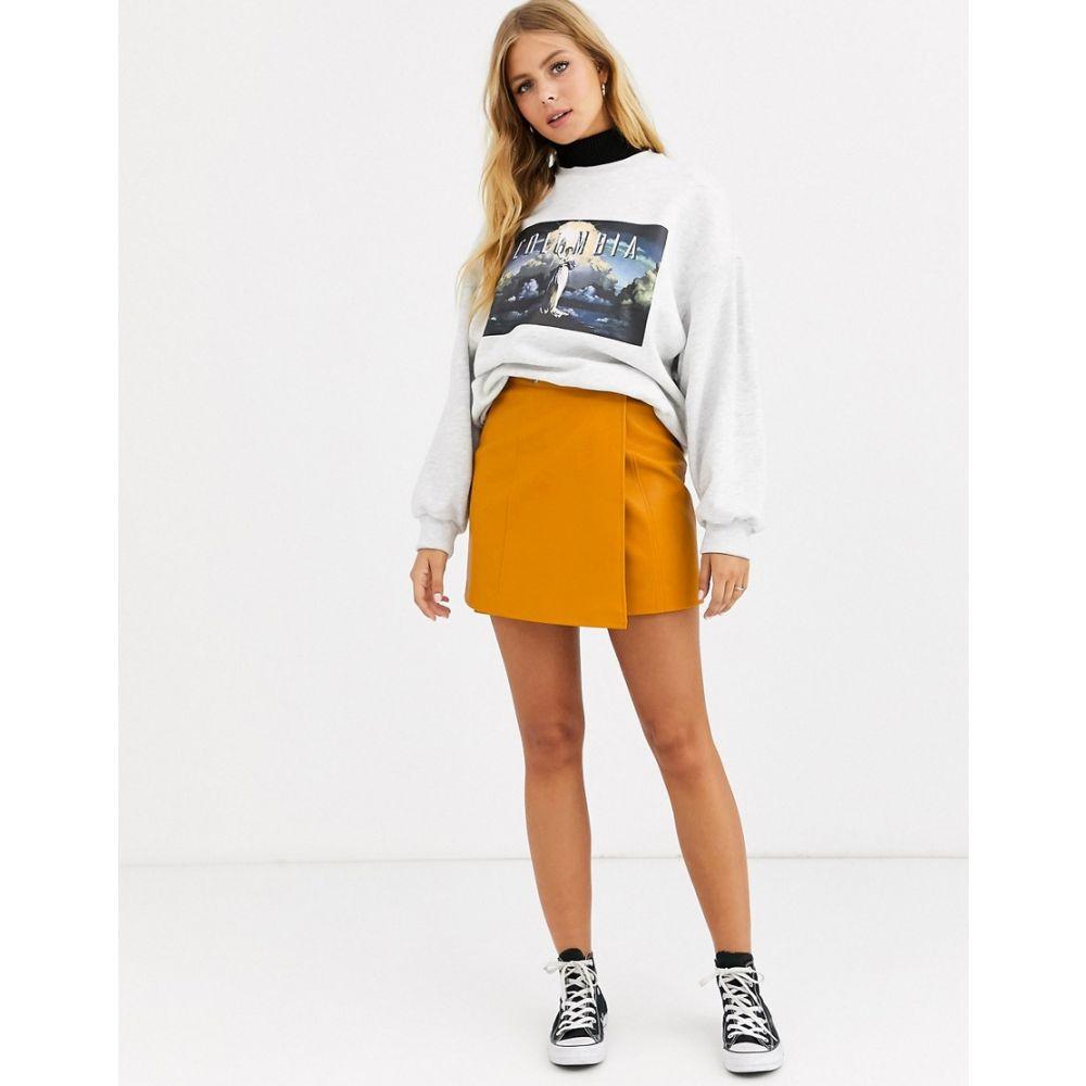 エイソス ASOS DESIGN レディース ミニスカート ラップスカート スカート【wrap a line leather look mini skirt with snap buttons】Tan