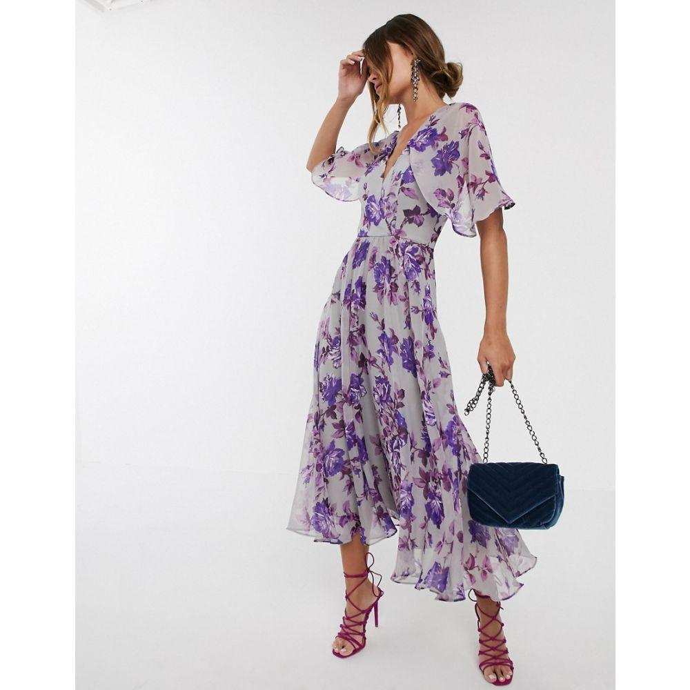 エイソス ASOS DESIGN レディース ワンピース ミドル丈 ワンピース・ドレス【floral drape sleeve midi dress】Purple floral