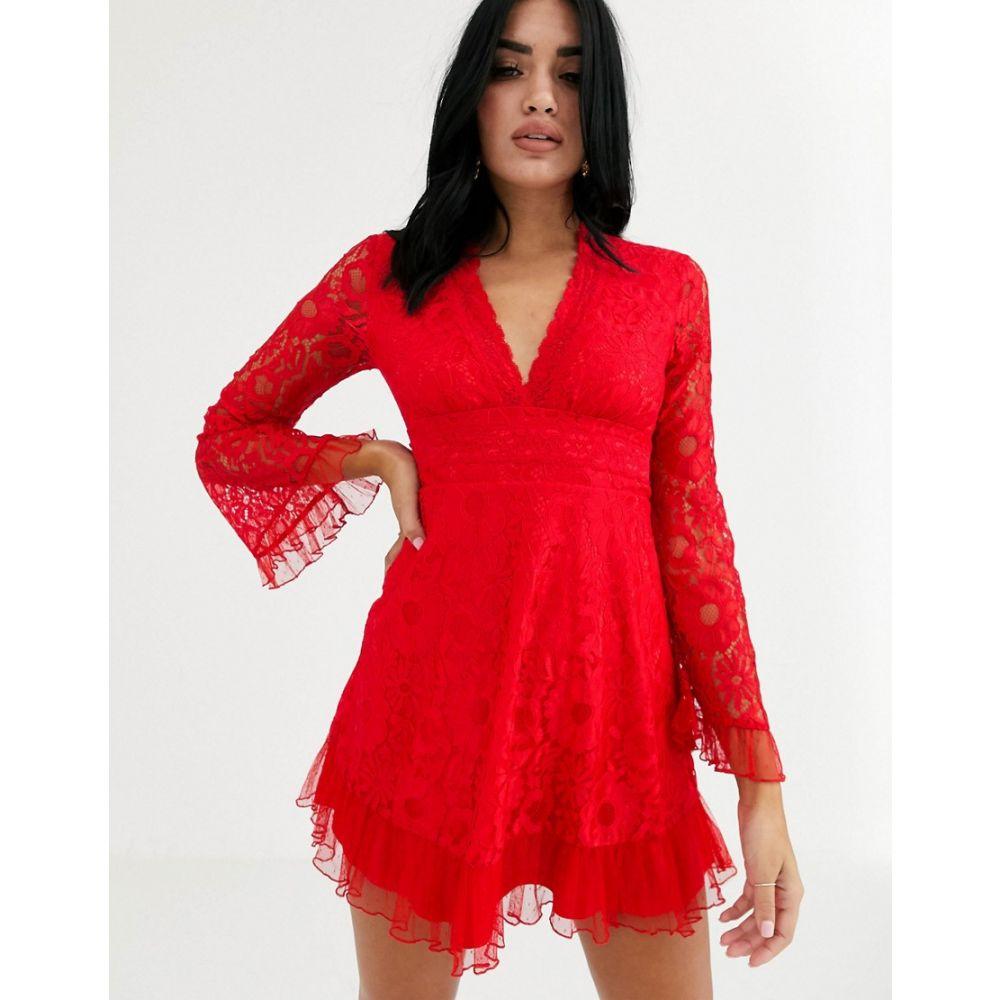 ラブトライアングル Love Triangle レディース ワンピース スケータードレス ワンピース・ドレス【plunge front lace skater dress in red】Red