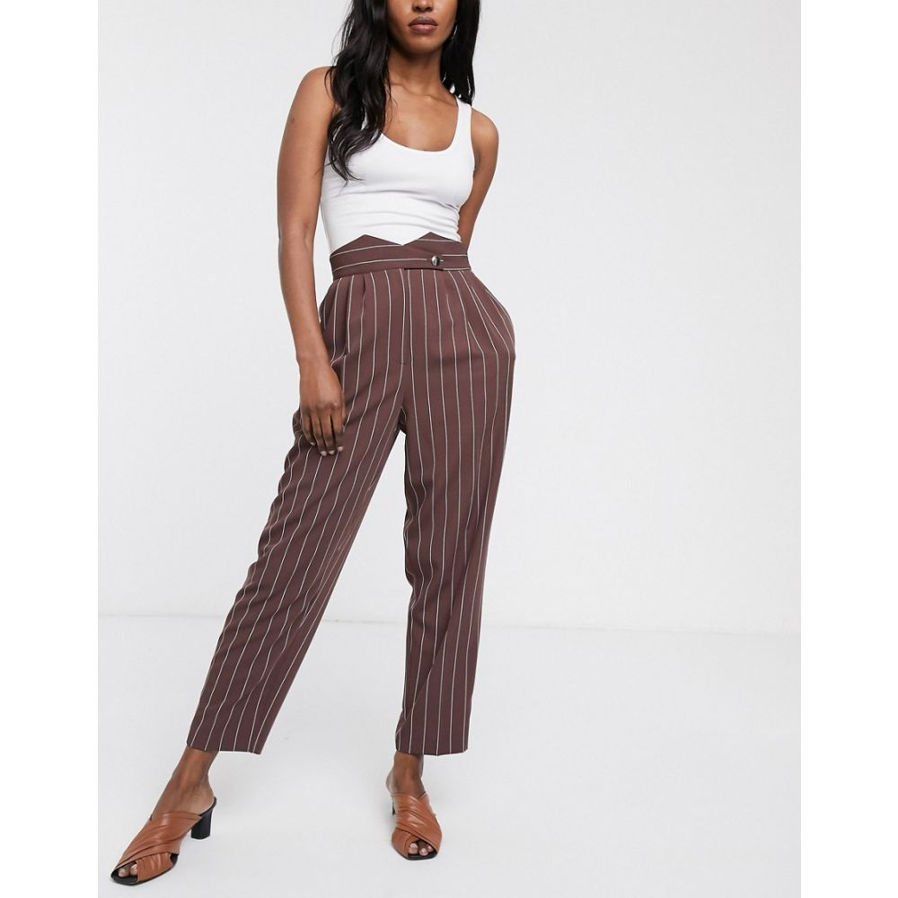 エイソス ASOS DESIGN レディース ボトムス・パンツ 【button detail high waist 80s tapered trousers】Stripe