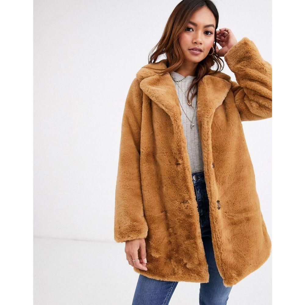 ピンキー Pimkie レディース コート ロングコート ロング丈 アウター【faux fur longline coat in camel】Beige