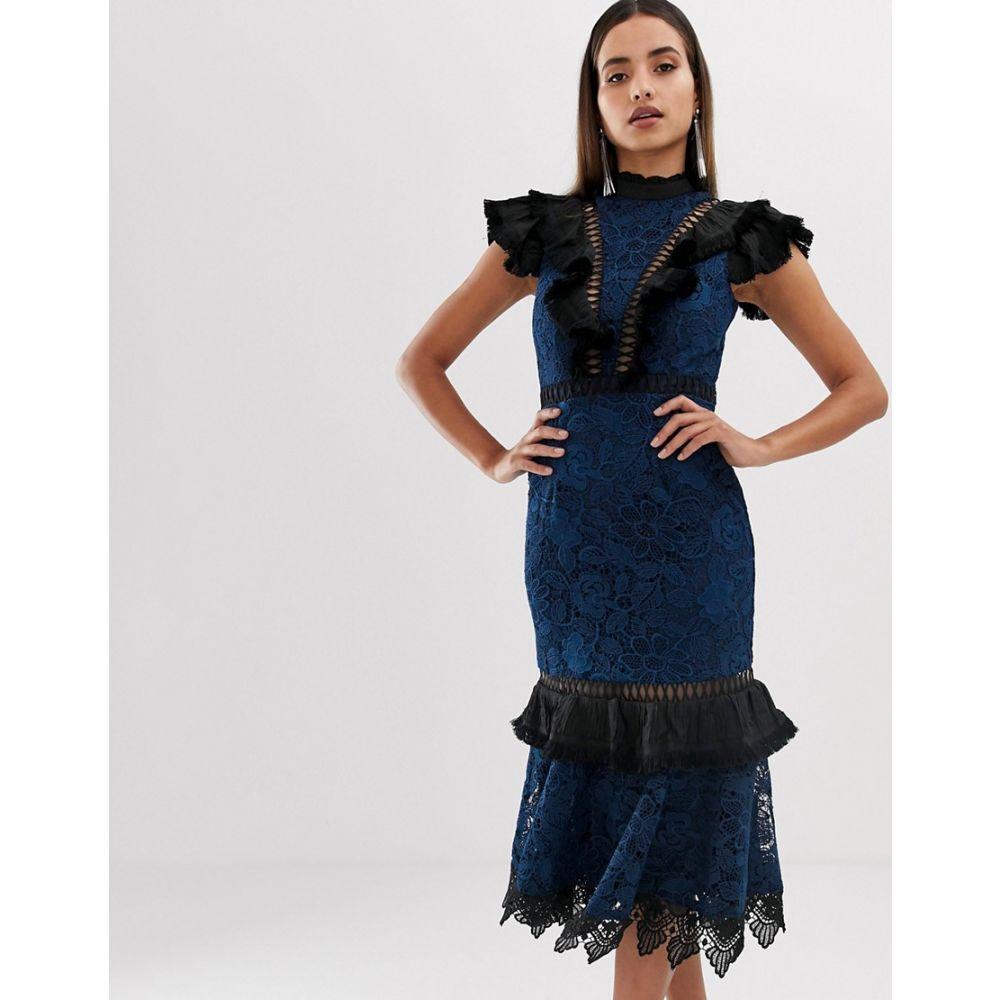 フォーエバーユニーク Forever Unique レディース ワンピース ワンピース・ドレス【lace frill high neck dress】Blue